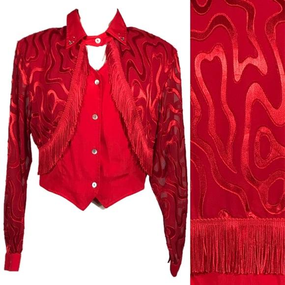 Tops - 🔖SOLD🔖 Vintage Red Fringe Show Rodeo Crop Blouse